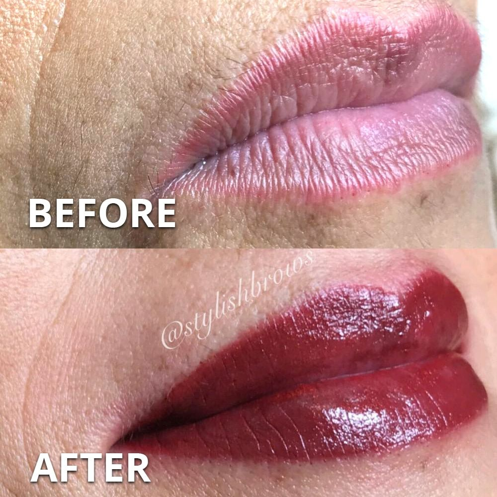 pmu permanent lip color miami before after